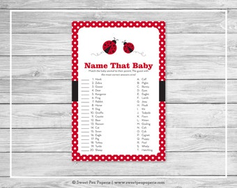 Ladybug Baby Shower Name That Baby Game - Printable Baby Shower Name That Baby Game - Ladybug Baby Shower - Name That Baby Game - SP140