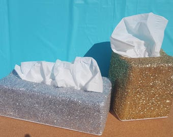 Glitter Tissue Box Covers, (Your Choice of Glitter Color), Bathroom Accessories