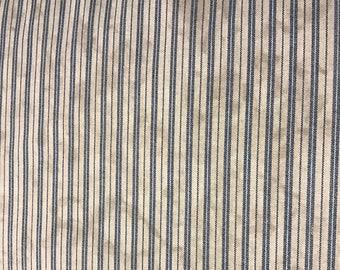 Farmhouse Primitive tea stained blue stripe ticking   kitchen Curtain Valance