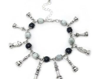 Chess Charm Bracelet, Chess Player Gift, Chess Board Bracelet, Chess Jewellery, Chess Piece Charm Bracelet, Chess Gift, Board Game Jewellery