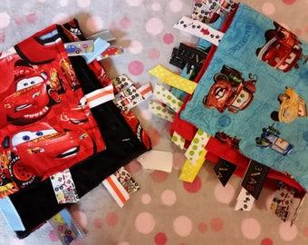 Sensory Blanket - Lovey Blanket - Busy Blanket - Baby Comforter - Security Blanket - Soft Blanket -  Lightning McQueen - Cars! - Mater