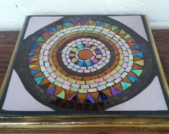 Trivet- mosaic- mandala -purple -Sousplats-mosaïque -mandala-mauve
