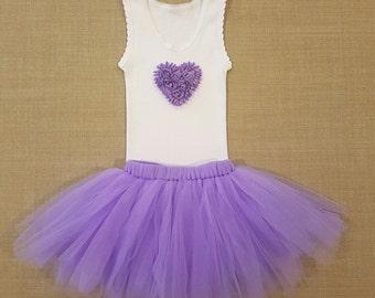 Baby girl heart tutu set. Purple tutu. Embellished singlet and tutu set. Size 00