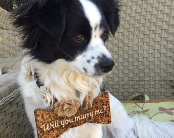 Wedding Dog Collar- Wooden Dog Bow Ties- Dog Collars will you marry me-  Marriage dog bow wooded tie with burlap flowers- Will you marry me?