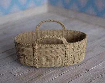 SALE - Dollhouse Moses basket in light brown