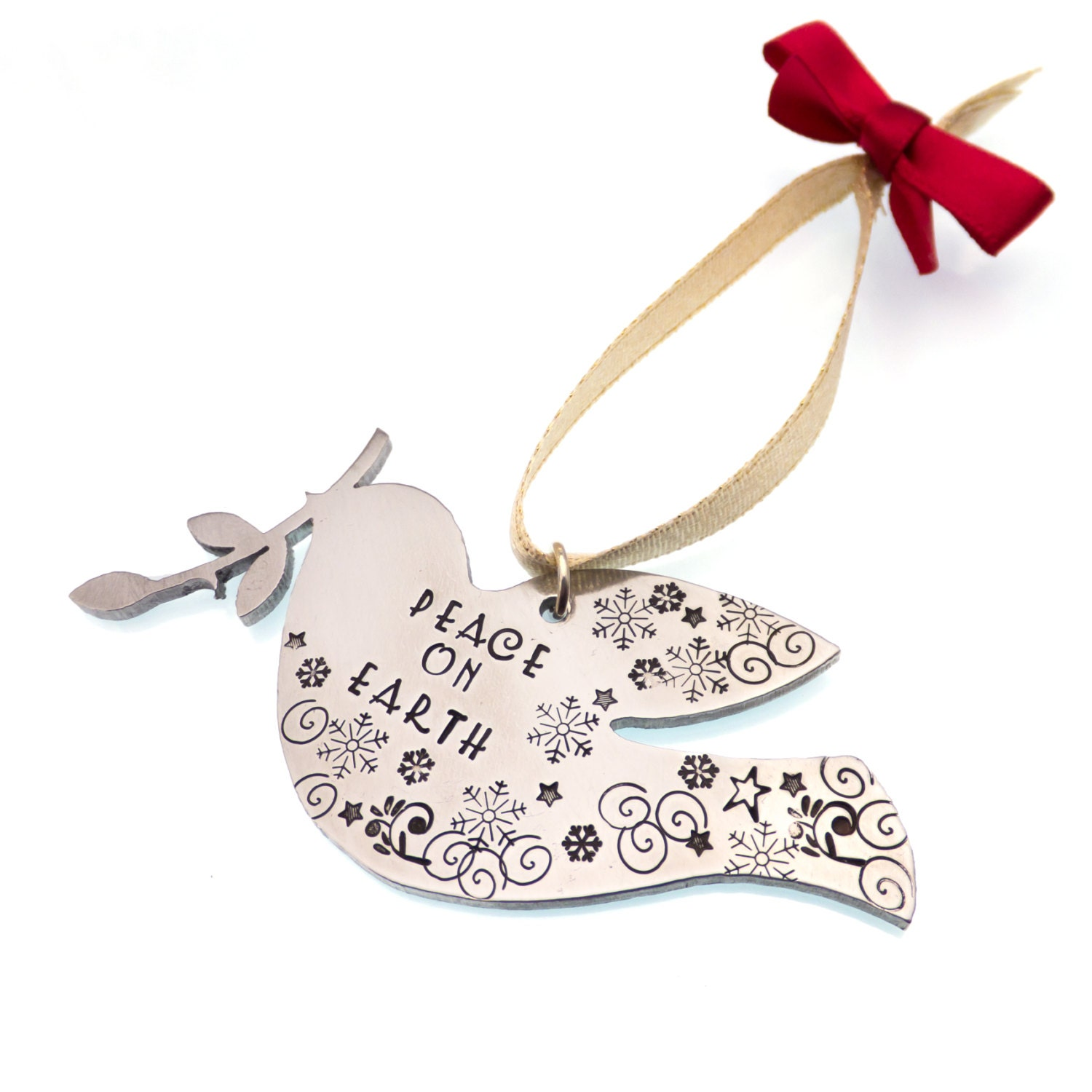 Christmas Tree Doves: Peace Dove Christmas Tree Ornament Hand Stamped Ornament