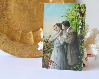 Antique Postcard Two Lovers, Loving Couple Postcard, Ephemera