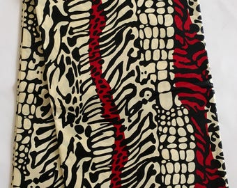 African Print Fabric/ Ankara - Cream & Red 'Wild Thang', YARD or WHOLESALE