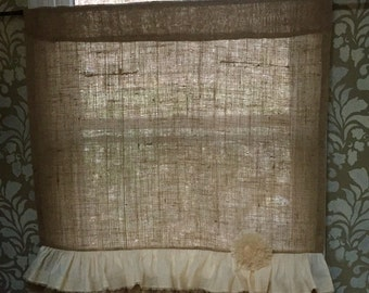 Burlap Curtain, Cafe Curtian with Lace