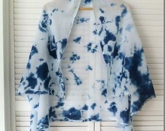 Shibori wrap/shawl/scarf indigo dyed cotton crinkle gauze