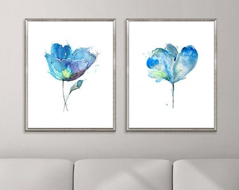 Blue flowers watercolor art Print, abstract flowers, set of 2 prints, blue home decor - 43/22