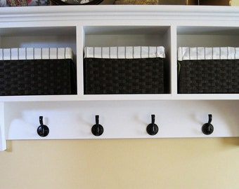 "40"" solid wood entryway wall shelf with baskets, white acrylic latex paint. Mudroom shelf with storage."