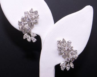 Spectacular 18k White Gold 5ct Round Marquise Diamond Flower Swirl Cluster Earrings With Omega Backs