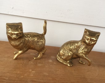 Set of 2 Solid Brass Cat Figurines
