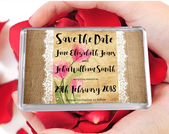 Hessian & Lace Rustic Save The Date Fridge Magnets, Floral Save The Date, Save The Date Magnet, Personalised Magnets, Save Our Date Magnets