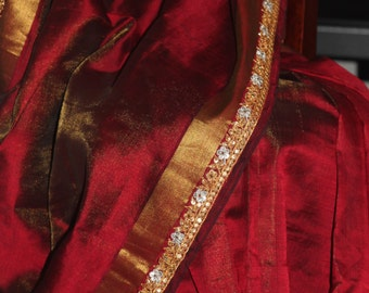 Deep Maroon~Golden Shaded Handwork Kasab border On Maroon Silk Cotton Saree~Brand New~FREE SHIPPING~Karwachauth