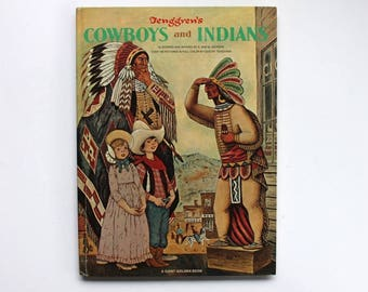 Tenggren's Cowboys and Indians A Giant Golden Book by Kathryn and Byron Jackson 1968 Hardcover Golden Press