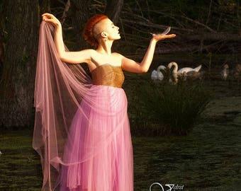 Wedding dress/bridal/dress violet tulle