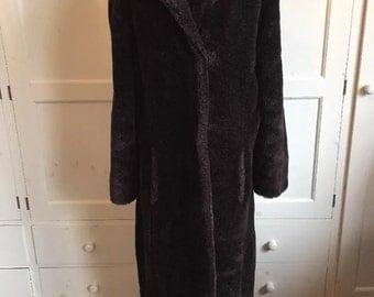 Full length chocolate brown faux fur coat, uk size 14