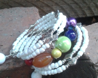 Chakra yoga bracelet, White yoga bracelet, Chakra memory wire bracelet, White memory wire bracelet, White wrap bracelet, Cuff bracelet