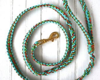"6'0"" Turquoise/Multi Paracord Dog leash"