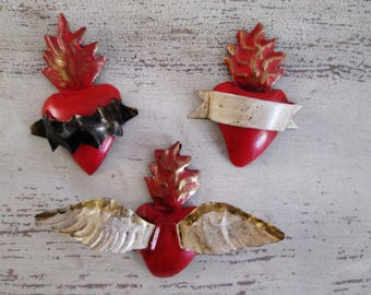Tin Sacred Hearts//Tin Heart Ornaments//Heart Magnets//Winged Heart//Set of 3 Hearts//Mexican Folk Art