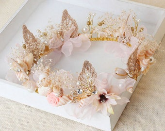 Mermaid Hair Accessory Beach Wedding Crown Seashells Mermaid Crown Nautical Wedding Headpiece Destination Wedding Headband tiara boho Ariel