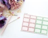 May Faux Glitter Square Boxes -- Matte Planner Stickers
