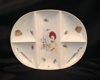 Kitchy Divided Dish/1970s Porcelain Platter with Pretty Girl Pocketbook Umbrella/Unique Kitchy divided dish platter