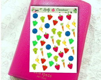 041 | Fruit and Vegetable Decorative or Treat Tracker - Planner Stickers