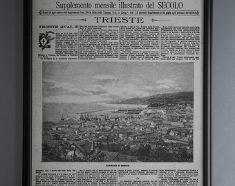 Vintage Italian Newspaper Reproduction: Unframed Le Cento Citta D'Italia - Trieste, Italy - from Janaury  25th, 1893