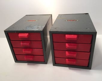 Vintage Dunlap industrial metal and plastic stacking mini organization drawers