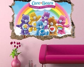 Care bear stickers etsy for Care bears wall mural