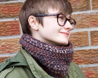 Super Cozy Crochet Multicolour Cowl Neck Warmer Scarf Brown