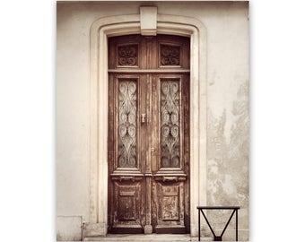 Door photography, paris door, french decor, door print, paris decor, paris print, brown door, door wall art, rustic paris home decor, france