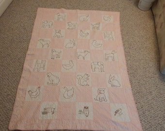 HANDSTITCHED BABY QUILT, A B C and Animal Baby Quilt, Vintage Baby Quilt, Handmade Pink Baby Quilt, 40 by 57 vintage Baby Quilt, Baby Quilt