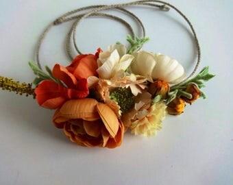 Flower Crown, Bridal, Toddler Flower Crown, Bride, Headpiece, Flower Girl, Wedding, Tie back, Fall, Peach, Floral Crown, Tieback,Crown