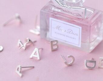 Elegant mother's birthday 925 Sterling Solid Silver Alphabet Initial Stud Earrings (Per Earring)