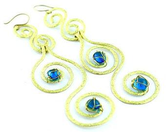 Gold Swirl Drop Blue Crystal Earrings