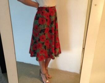 Vintage midi skirt - beautiful retro red poppy print, Size 10-12 (AU) Mad Men