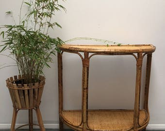 Vintage 1950's Bamboo And Wicker Hall Table.