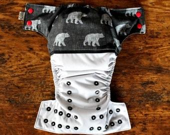 One Size Pocket Cloth Diaper - Wraparound : BEARS
