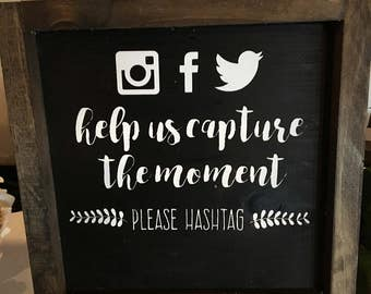 HASHTAG WEDDING Wooden Sign, Home Decor Sign, Wall Art, Customizable Wall Decor, Hand Painted Sign