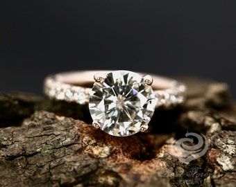 Certified 9mm/3 Carats Round Cut Forever One G-H Color Moissanite 14k Rose Gold Diamond Ring (Other Metals & Other Stone Available)