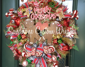 Christmas Gingerbread Christmas Burlap Wreath, Gingerbread Man Christmas Door Wreath, Peppermint Wreath, Merry Christmas, Kitchen Christmas
