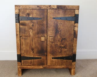 Handcrafted rustic chunky wooden cupboard / cabinet in walnut wax finish