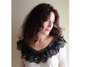 Hand made crochet collars  - Crochet collar - Hand made collar - Crochet lace collar - Blak knitted collar - cotton collar