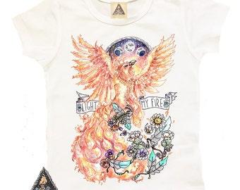 FIREBIRD PHOENIX bird feather kids shirt / Bird boho fire phoenix / Baby Shower Gift