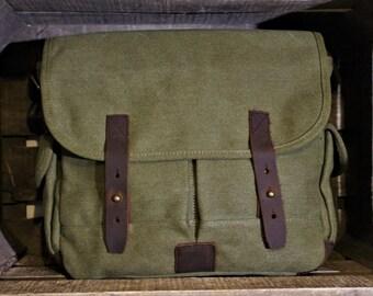 Satchel leather & canvas 100% cotton