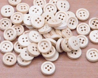 25pcs 12mm Unfinished Natural Wood button with 4 holes, small Sewing Buttons,tiny round wooden button